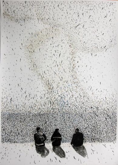 Das grosse Wunder 02, Pastellstift auf Papier, 50 x 70 cm, 2016