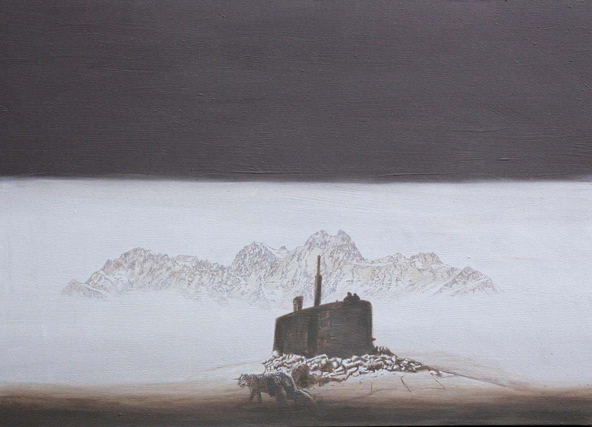 Die Wahrheit liegt hinter dem Mohnd, Akryl, 140 x 100 cm, 2014