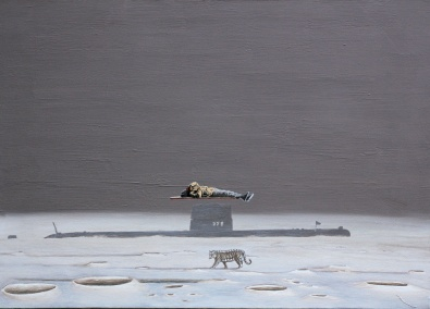Die Wahrheit liegt hinter dem Mohnd II, Akryl, 140 x 100 cm, 2014