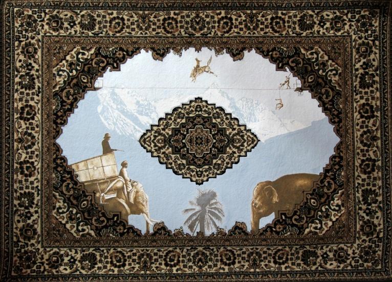 Orient-Glossglocknerrausch, Akryl auf Teppich, 280 x 380 cm, 2014