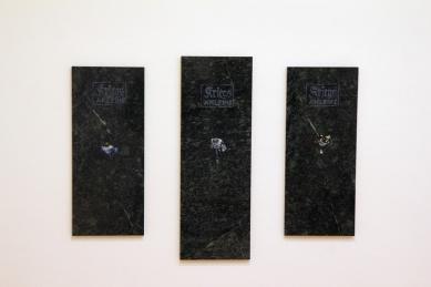 Serie Kriegsanleihe, Öl auf Marmor, ca. 20 x 50, 20 x 70 cm, 2014