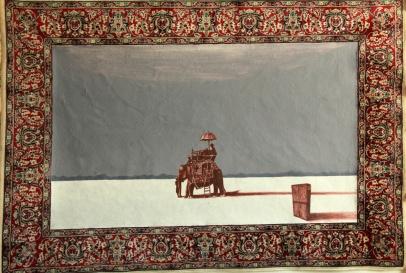Der weisse Sand des Mohndes I, Akryl auf Teppich, 117 x 140 cm, 2014