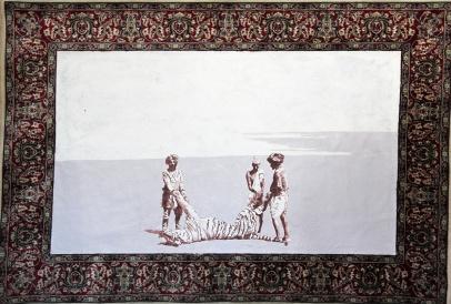 Der weisse Sand des Mohndes II, Akryl auf Teppich, 117 x 140 cm, 2014