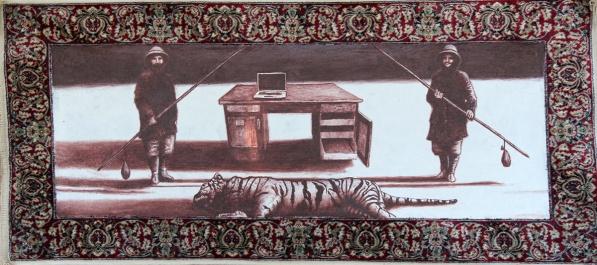 Der weisse Sand des Mohndes III, Akryl auf Teppich, 62 x 140 cm, 2014