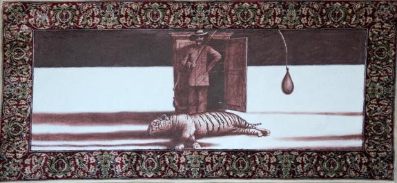 Der weisse Sand des Mohndes IV, Akryl auf Teppich, 62 x 140 cm, 2014