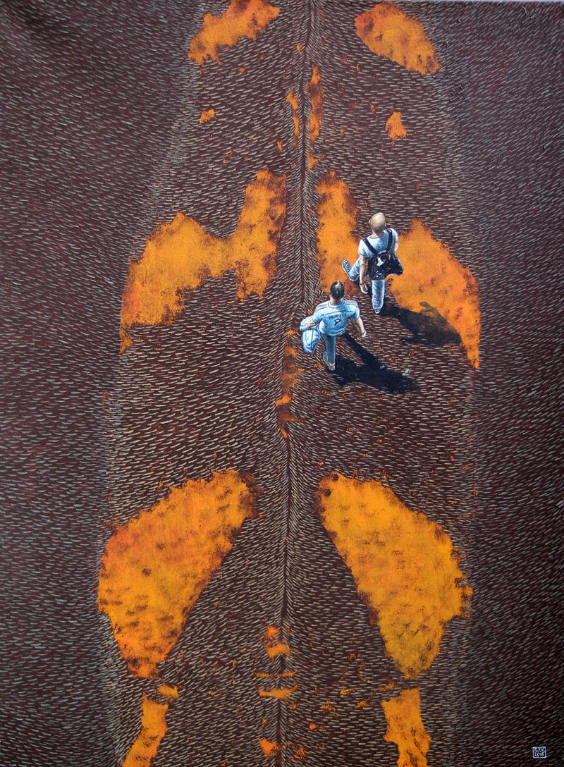 Terra Coleoptera 2, Walking on Exotic Grounds, 90 x 120 cm, Akryl auf Leinwand, 2015
