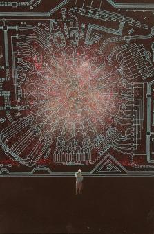 """Digitales Weltenrauschen""3 /Digital world noise, 60x40cm, Acryl auf Leinwand, GFK 2017"
