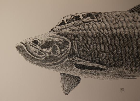 "Serie ""Fischpiloten""/ Fishpilots,Tinte/Ink Papier, 30x40cm, GFK 2018"